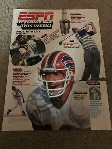 Vintage 1990s JIM KELLY ESPN Print Ad BUFFALO BILLS ANDRE AGASSI TENNIS RARE