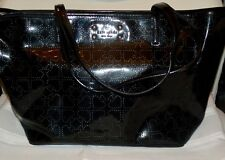 KATE SPADE LOGO BLACK PATENT PURSE BAG JAZZY METRO PERFORATED HEARTS - EXCELLENT