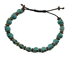 Bracelet Mala Tibetain Tête de mort bleu turquoise Perles en Howlite 8258 CA13