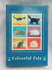 Colourful CATS - Box of 12 Cat Greetings Cards with Envelopes - No Verse