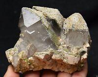814.2g Natural Clear Quartz Light brown calcite Crystal Original Specimen