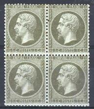 "FRANCE STAMP TIMBRE 19 "" NAPOLEON III 1c OLIVE BLOC DE 4 "" NEUF TB SIGNE  M724"