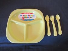 NEW BABY PLATE  WITH 2 SPOONS & 1 FORK IN YELLOW.