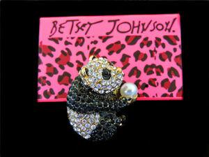 Lovely Black/White Rhinestone Panda Charm Betsey Johnson Brooch Pin Gift