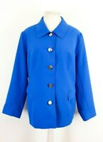 Womens Blue Silver Button Occasion Jacket by Wardrobe UK 24 Plus Size New