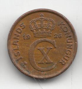 ICELAND 1 EYRIR 1926 COPPER SCARCE        159U            BY COINMOUNTAIN