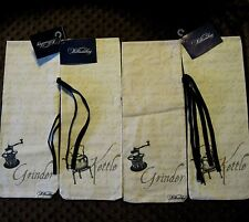 4 Wine Bottle Coffee Gift Bags Fabric Williamsburg American Kitchen Reusable New