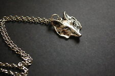 Tono plata Fox cara Collar Vintage Kitsch