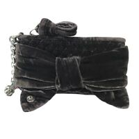 Juicy Couture Gray Quilted Velvet Large Bow Silver Metal Chain Wristlet Wallet