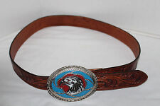 SILVER CREEK CLASSIC~Brown LEATHER Embossed EAGLE Belt~INLAID Eagle BUCKLE~36