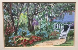 "VALERIE BURTON AUSTRALIAN SMALL FRAMED OIL WC ""THE COTTAGE GARDEN"" 1992 A"