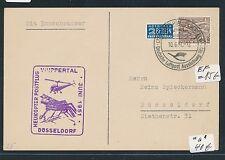 87695) Helikopterpost BRD Wuppertal 10.6.51, Karte EF Berlin 15PF