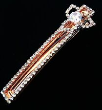 USA Quality Hair Clip using Swarovski Crystal Hairpin Long Gold Fashion