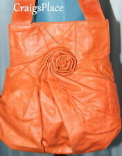 Isabella Fiore  Leather Pleated Rose Tote Large Orange