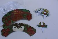 Set of 36 Christmas Holiday Cupcake Toppers and Wrappers Deer Antlers Poinsetta