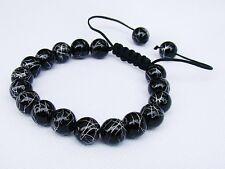 Black Men's beaded bracelet all 10mm Drawbench Glass Beads