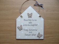 HOME GIFT PLAQUE.BUTTERFLY WOODEN HOUSE.CREAM POLKA DOT,SPOTTY SHABBY CHIC