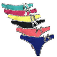6 Pack Women Cotton Thong G-string Panties Briefs Girls Bikini Underwear T-back