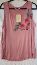 SJS Pink 3D Rose Embroidered Applique SleevelessTop Blouse Plus Sz 1x (C59)