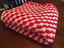 "Vintage Afghan GRANNY Handmade Crochet Quilt Throw Blanket 57""x56"" square RED"