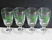 "Set of 4 IRISH COFFEE Pedestal Glasses with Shamrocks Gold Rim 5.5"" FREE SH"