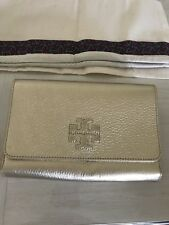 a493ab3be0f1 Tory Burch Thea Wallet Clutch Metallic Gold Pebbled Leather Cross Body Bag