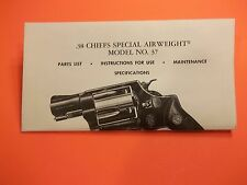 SMITH AND WESSON .38 CHIEFS SPEC. AIRWEIGHT MODEL NO. 37 REVOLVER OWNER'S MANUAL