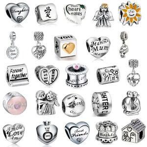 925 Sterling Silver DIY European Charms Beads Family Love MUM Heart fo Bracelet