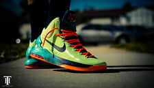 NIKE~KD 5 Area 72 QS~Size 12~Pale Green/Orange/Teal Blue/Galaxy~Authentic~9.5/10