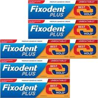 6 x Fixodent Plus Dual Power Best Hold 40g Denture Premium Adhesive Cream Strong