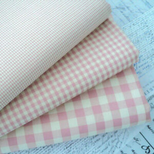 Kent 2 Vintage Gingham Fabric  Vintage Pink - Cotton Rich Sewing Dress Fabric