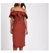 Bnwt River Island Bardot Midi Dress With Belt Size 10