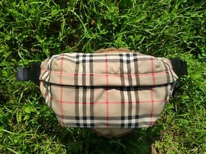 Authentic New Burberry Medium Vintage Check Bonded Cotton Bum Bag with dust bag