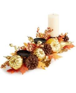 Martha Stewart Gold Pumpkin Berries Leaves Fall Three Candle Table Centerpiece
