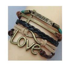 Brown gold cross religious faith bracelet adjustable cute love charm infinity