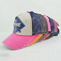Men Women Flat Bill Demin Distressed Cap Vintage Baseball Trucker Hat  Ey