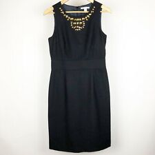 Banana Republic Dress Size 6 Black Wool Gemstone Collar Sheath Dress