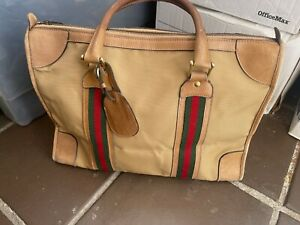 Vintage Gucci Duffel Travel Bag Tan Canvas Leather Red Green Signature