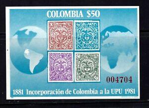 Colombia Souvenir Sheet #C716, MNHOG, XF