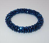 A612 - Armband Wickelarmband NEU - Blau glänzend Glasperlen Mädchen Yoga 26