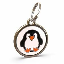 Pet Dog Cat ID Engraved Name Tag Personalised Stainless Steel Penguin Xmas