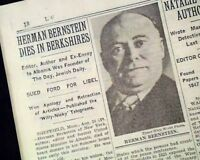 HERMAN BERNSTEIN Jewish Activist Jews Judaica DEATH w/ Photo 1935 NYC Newspaper