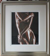 "Erotic Art Original Mounted and Framed Painting 'Oiled' 22"" x 24"""