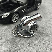 Silver Turbo Keychain Spinning Turbine Key Chain Ring Keyring Keyfob