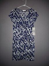 Glam Navy Blue, White Short Sleeve Sheath Dress women's Sz Medium  NWT!