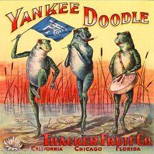 California Florida Yankee Doodle Frogs Orange Citrus Fruit Crate Label Art Print