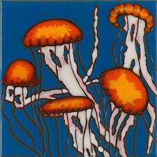 Ceramic Tile Handpainted Original Art Jellyfish Sealife wall decor/trivet