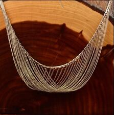 """Mid Century Modern Sterling Cable Chain Fringe Swag 22.7g Necklace (18"""")"""
