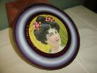 Antique Flue Cover: Black Haired Lady with Oriental-look Hair-do.    #6683