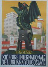"""""""XIIe FOIRE INTERNATIONALE LJUBLJANNA 1932"""" Affiche originale entoilée 74x104cm"""